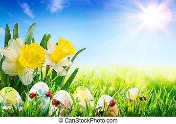 瓢蟲, 復活節, 草地, 蛋
