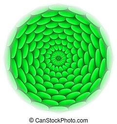 瓦片, 圖案, 環繞, green., 屋頂