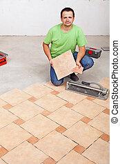 瓦片, 地板, 工人, 放置, 表面, 混凝土