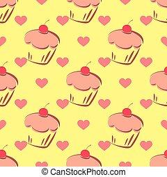 瓦片, 矢量, 圖案, 由于, cupcake