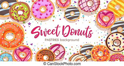 甘い, カラフルである, チョコレート, バックグラウンド。, donuts., ビュー。, スタイル, 蜂蜜, ベクトル, 上, 漫画, 平ら, 装飾, トッピング, いちご, 艶をかけられる, パン屋, illustration., カラメル, ペストリー