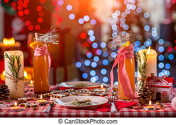 甘い, クリスマス, 飾られる, テーブル