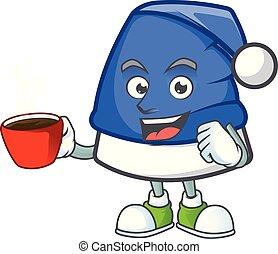 甘い, コーヒー, 漫画, 特徴, 帽子, クリスマス, カップ, 青
