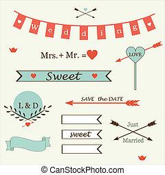 甘い, セット, 要素, 結婚式