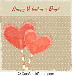 甘い, バレンタイン, レトロ, 心, 日, カード