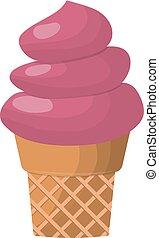 甘い, ワッフル, 味が良い, コーン, 冷たいクリーム, 軽食, 隔離された, 氷, カラフルである, 食物, ...