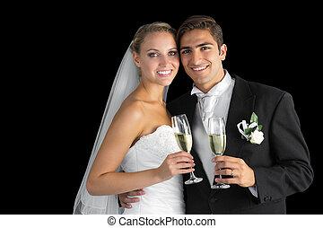 甘い, 偶力がポーズを取る, ガラス, シャンペン, 若い