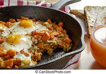 甘い, 卵, 揚げられている, ハッシュ料理, ポテト