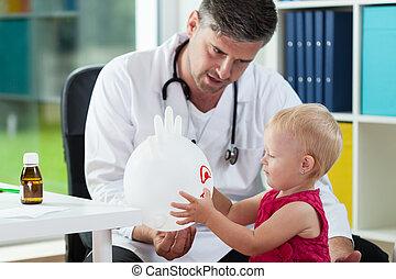甘い, 女の子, オフィス, pediatrician's