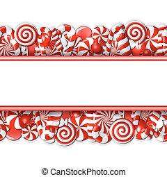 甘い, 旗, candies., 赤い白