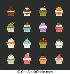 甘い, cupcakes, アイコン