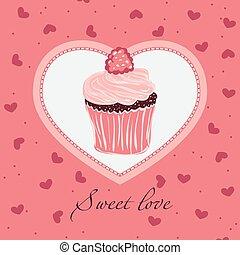 甘い, love., デザイン, カード, テンプレート