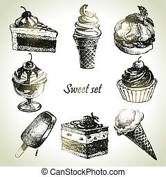 甘い, set., 氷, 手, イラスト, ケーキ, 引かれる, クリーム