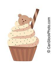 甘い, set., cupcakes