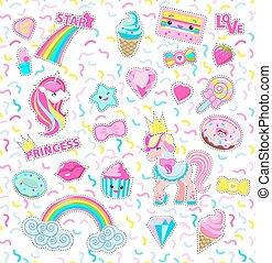 甘い, star., コレクション, rainbow., icons., 王女