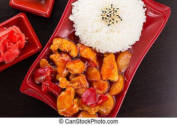 甜和脾气坏的小雞, 由于, 米, 上, a, 盤子