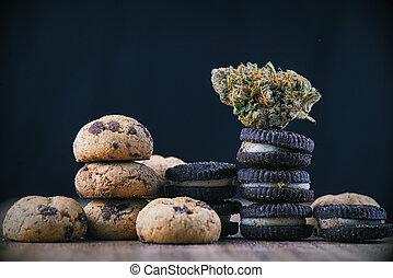 甜面包, 概念, 醫學, 在上方, -, 大麻, 巧克力, 大麻, 灌輸, nug, 晶片, edibles