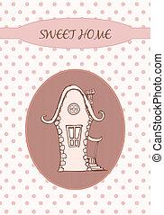甜,  -, 卡片, 家