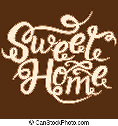 甜, 家, card., 手, 畫, lettering., 圖畫, phrase.