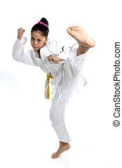 甜, 拉丁語, 小女孩, 伸展腿, 在, 武術, 實踐, 訓練, 踢, 以及, 攻擊