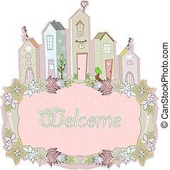 甜, 插圖, 矢量, 家, 卡片, 設計