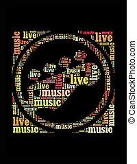 生きている, テキスト, コラージュ, 作曲された, 中に, ∥, 形, の, ギター