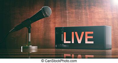 生きている, 上に, a, 黒, 箱, そして, a, マイクロフォン, 上に, a, 木製である, desk., 3d, イラスト
