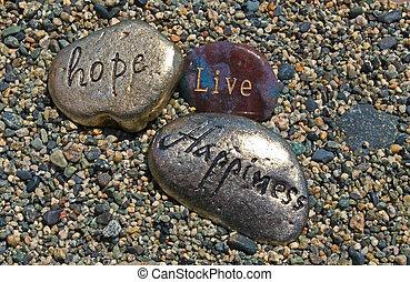 生きている, rocks;, 幸福, 希望