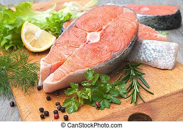 生の魚, 鮭, ステーキ