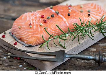 生の魚, 鮭, フィレ, ハーブ, 新たに