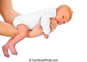 生まれたての赤ん坊, お父さん, 手