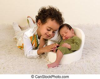 生まれたての赤ん坊, つま先, 数える, 兄弟