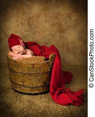 生まれたての赤ん坊, バケツ, 木製である