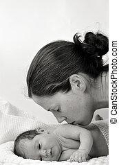 生まれたての赤ん坊, -, 肖像画, 母