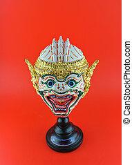 生來, 泰國, 風格, 面罩, 使用, 在, 皇家, 表現, khon.