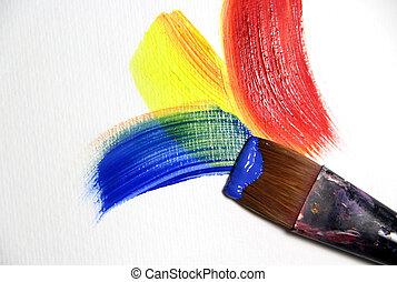 生動, 打擊, 以及, paintbrushes