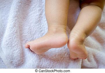 生地, の上, フィート, 赤ん坊, 終わり, 白