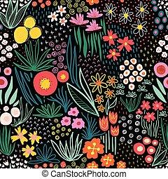 生地, 線, 花, 繰り返すこと, 壁紙, pattern., 使用, いたずら書き, seamless, 装飾, 芸術, ベクトル, 子供, 明るい, 春, 夏, 装飾, バックグラウンド。, 牧草地, 花, 黒