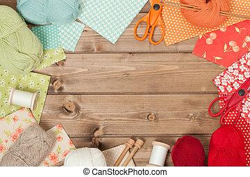 生地, 編むこと, 木製である, 裁縫, ヤーン, accessories., tabl, balls.