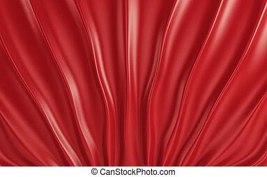 生地, render, floor., 赤い絹, ひだのある布, 3d