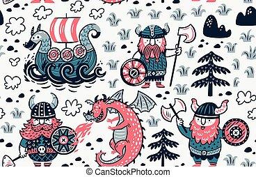 生地, vikings, パターン, 包むこと, seamless, ペーパー, デザイン背景