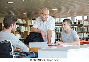 生徒, そして, 教師, 中に, ∥, 図書館