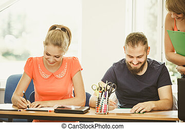 生徒, そして, 教師, 家庭教師, 中に, 教室