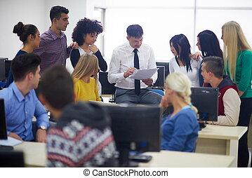 生徒, ∥で∥, 教師, 中に, コンピュータ研究室, classrom