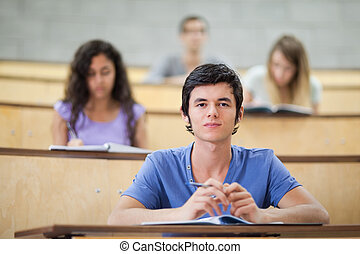 生徒, の間, 集中される, 講義