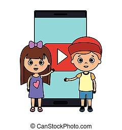 生徒, わずかしか, 子供, 恋人, smartphone