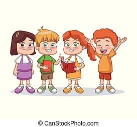 生徒, わずかしか, 子供, 漫画