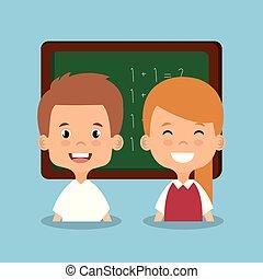 生徒, わずかしか, avatars, 特徴, 黒板