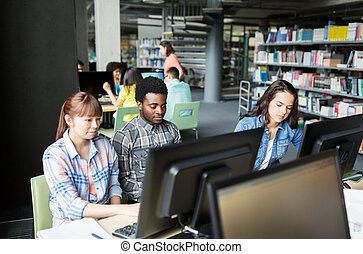 生徒, インターナショナル, コンピュータ, 図書館