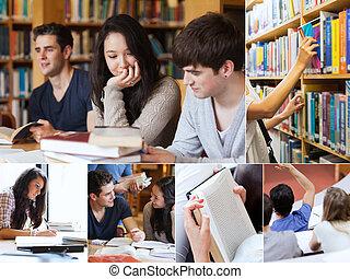 生徒, コラージュ, 図書館